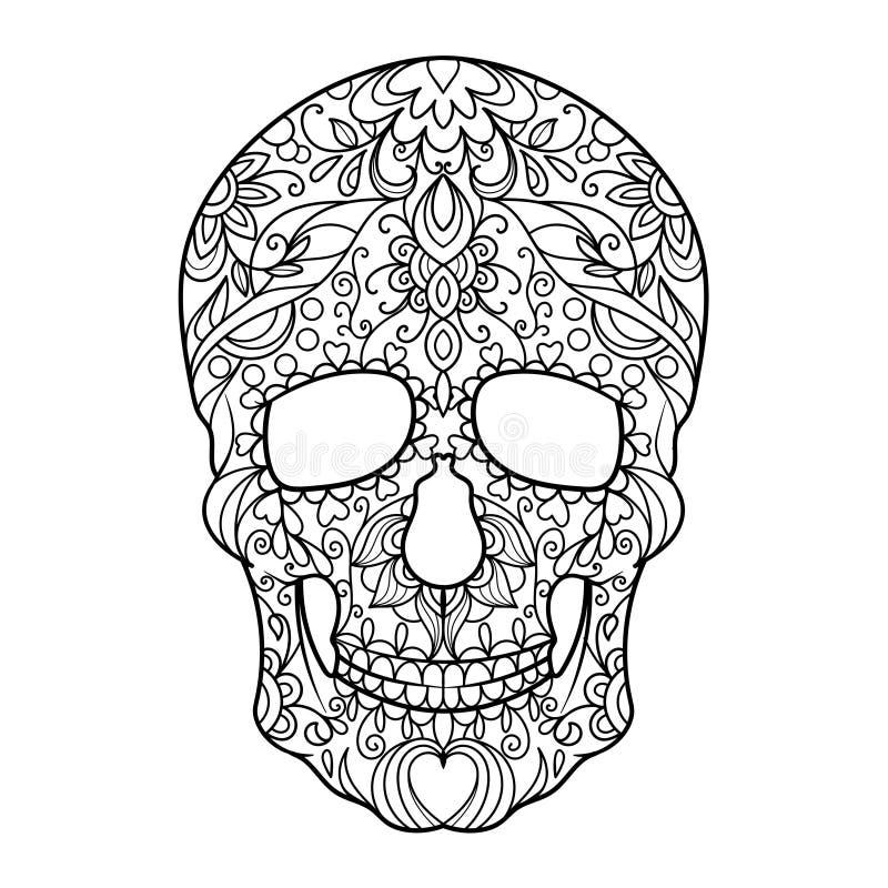 Книжка-раскраска черепа для вектора взрослых бесплатная иллюстрация