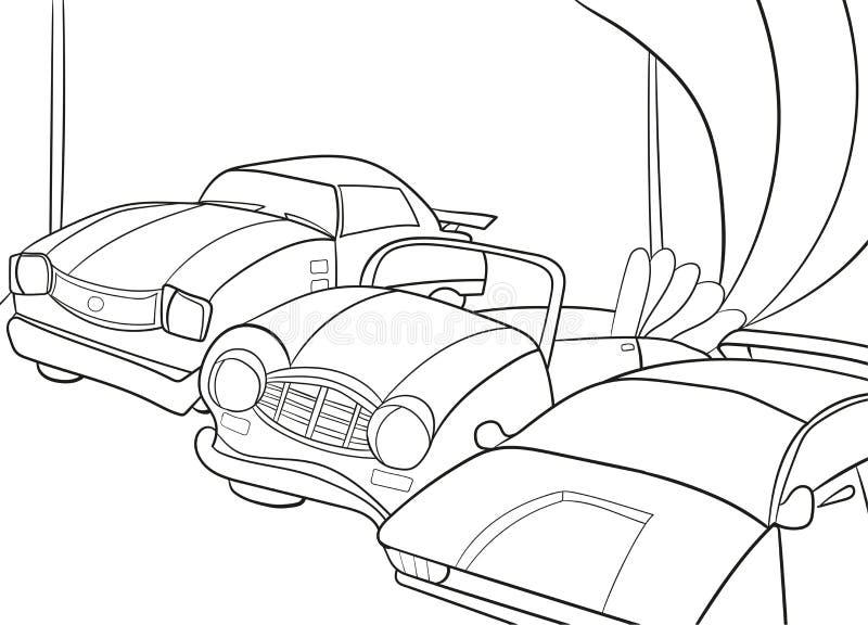 Книжка-раскраска шаржа детей для мальчиков Иллюстрация вектора - гараж с автомобилями иллюстрация вектора