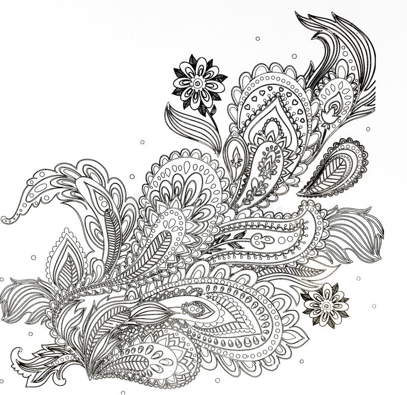 книжка-раскраска для взрослых, ветвь цветков стоковая фотография rf