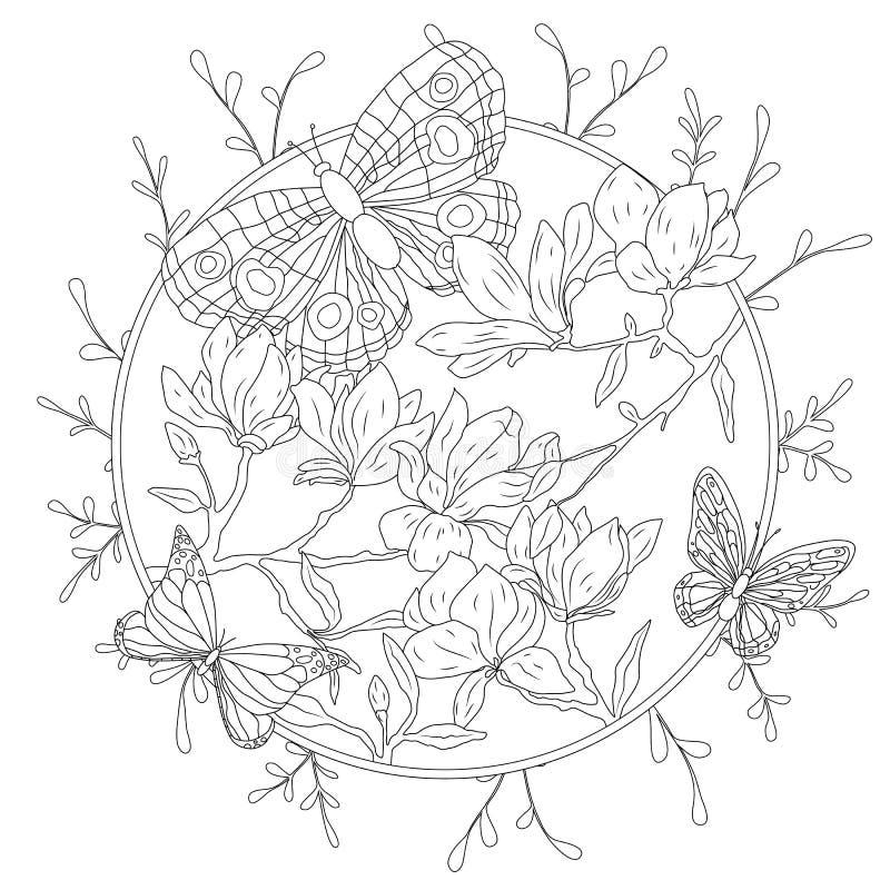 Книжка-раскраска для взрослых и более старых детей Страница расцветки с декоративными винтажными цветками и декоративными бабочка бесплатная иллюстрация