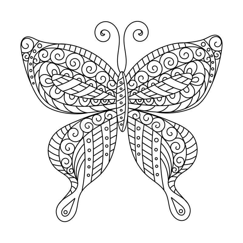 Книжка-раскраска для взрослых и более старых детей страница Чертеж плана Декоративная бабочка в рамке иллюстрация вектора