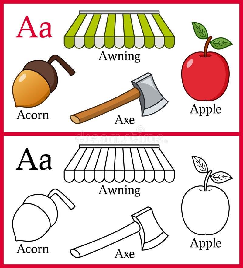Книжка-раскраска для детей - алфавит a иллюстрация вектора