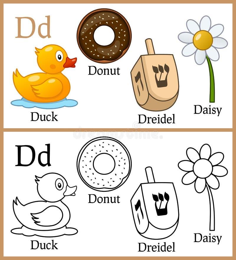 Книжка-раскраска для детей - алфавит d иллюстрация вектора