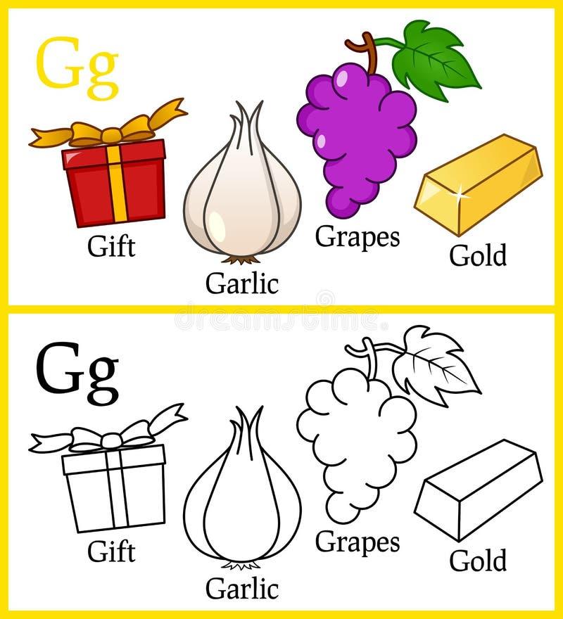 Книжка-раскраска для детей - алфавит g иллюстрация вектора