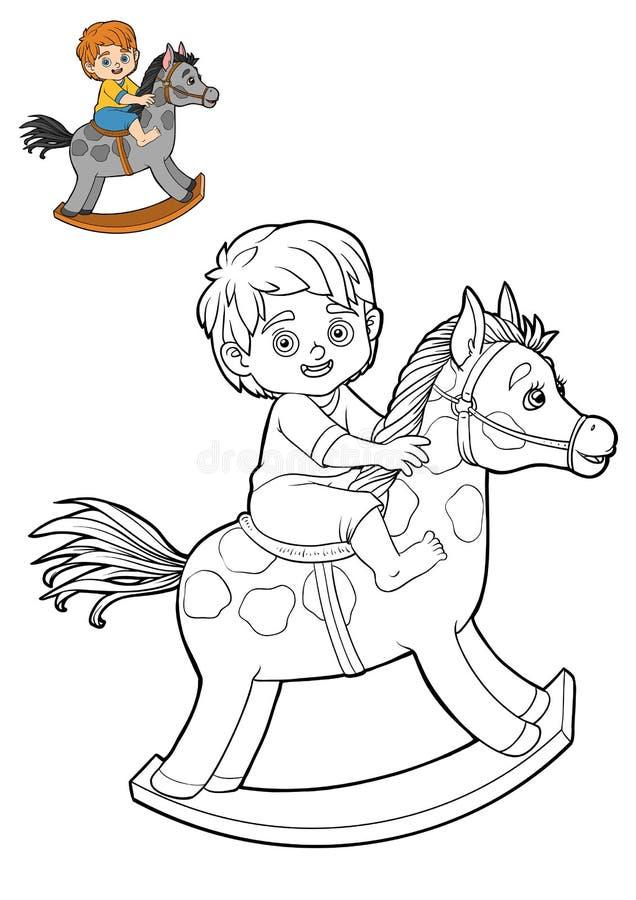 Книжка-раскраска для детей, мальчик на тряся лошади ...