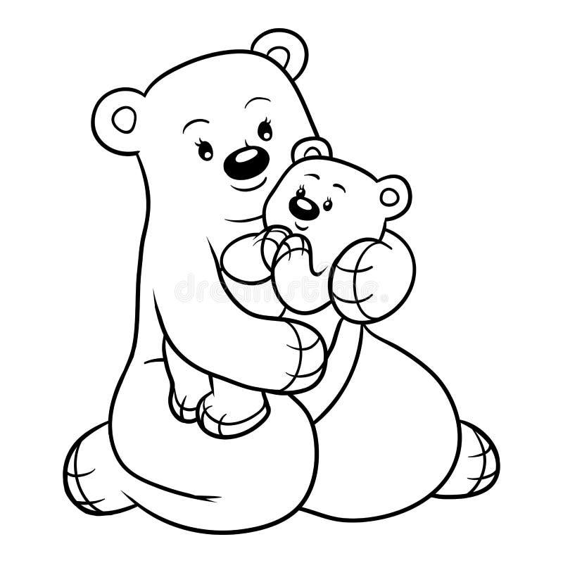 Книжка-раскраска для детей, семья медведей Иллюстрация ...