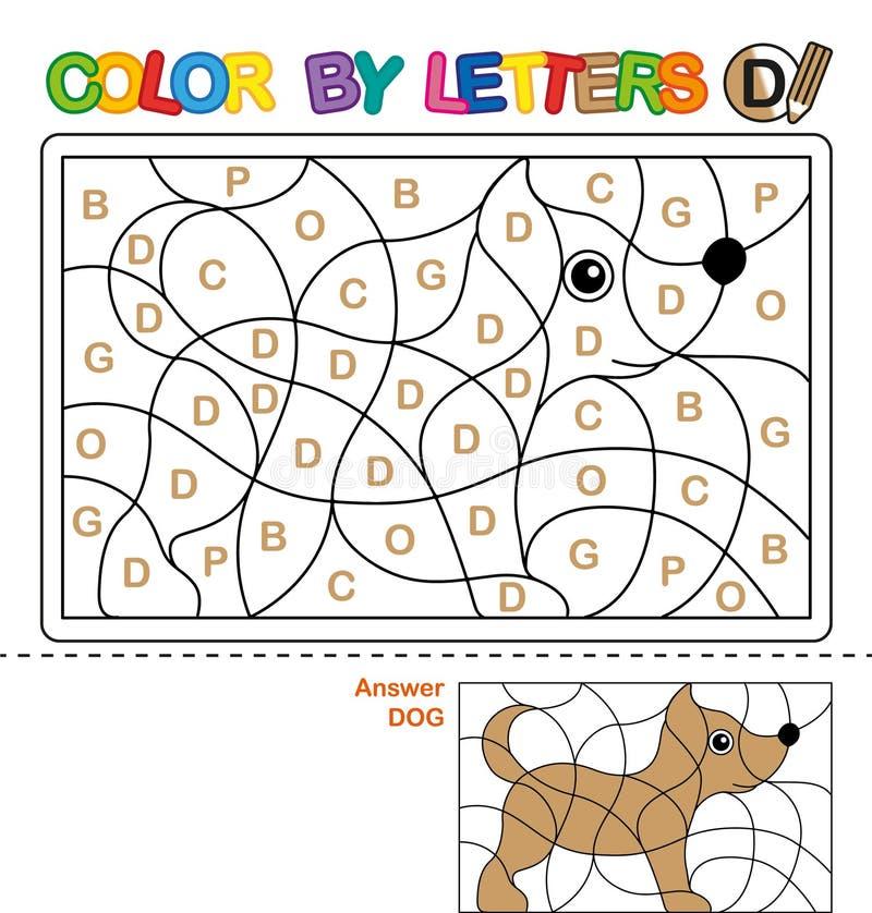 Книжка-раскраска ABC для детей Цвет письмами Учить прописные буквы алфавита Головоломка для детей Письмо d Собака иллюстрация штока
