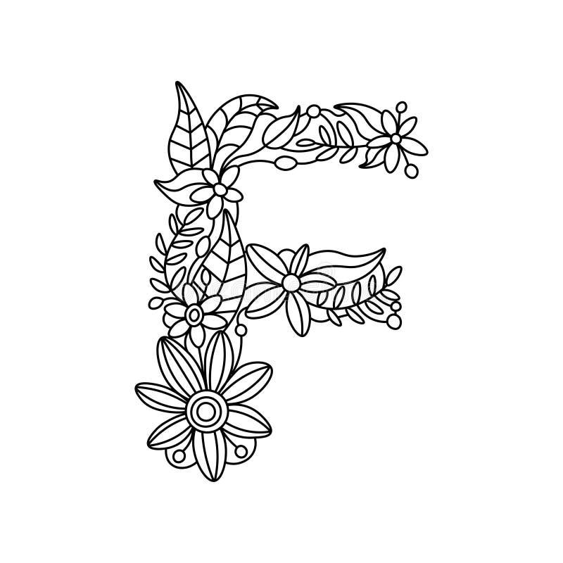 Книжка-раскраска f письма для вектора взрослых иллюстрация вектора