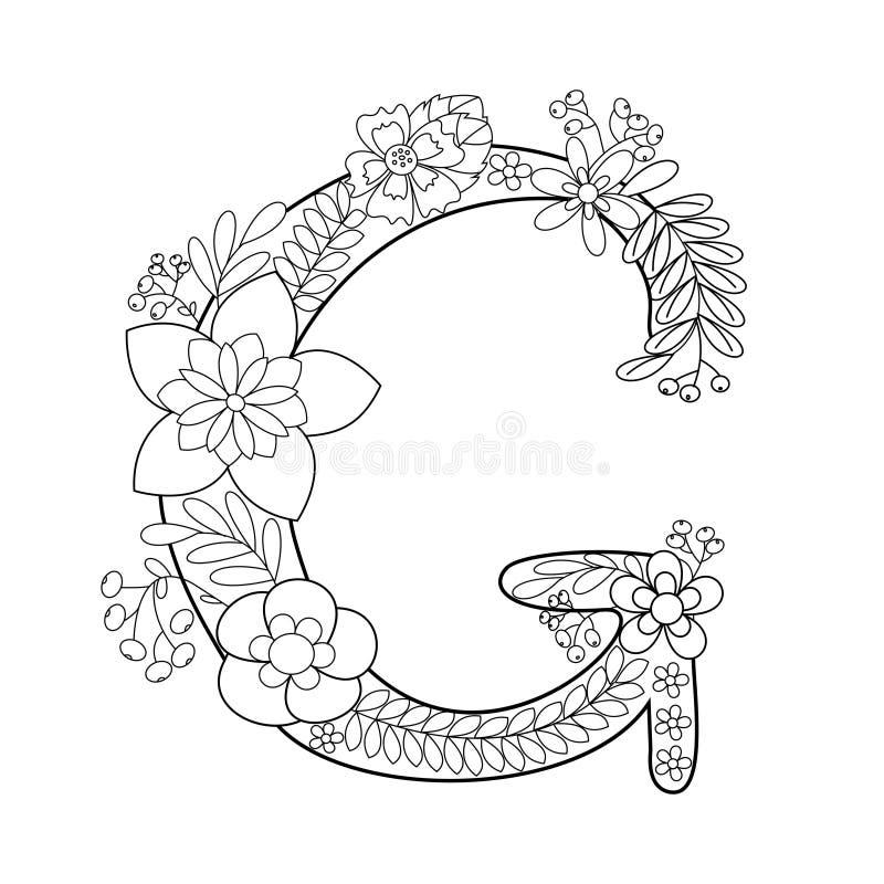 Книжка-раскраска g письма для вектора взрослых иллюстрация штока