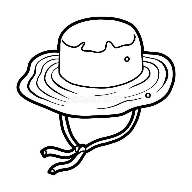 Книжка-раскраска, headwear мультфильма, шляпа рыболова ведра иллюстрация вектора