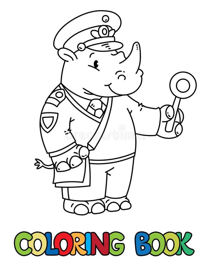 Книжка-раскраска railroader носорога alphabet animal letter r иллюстрация штока