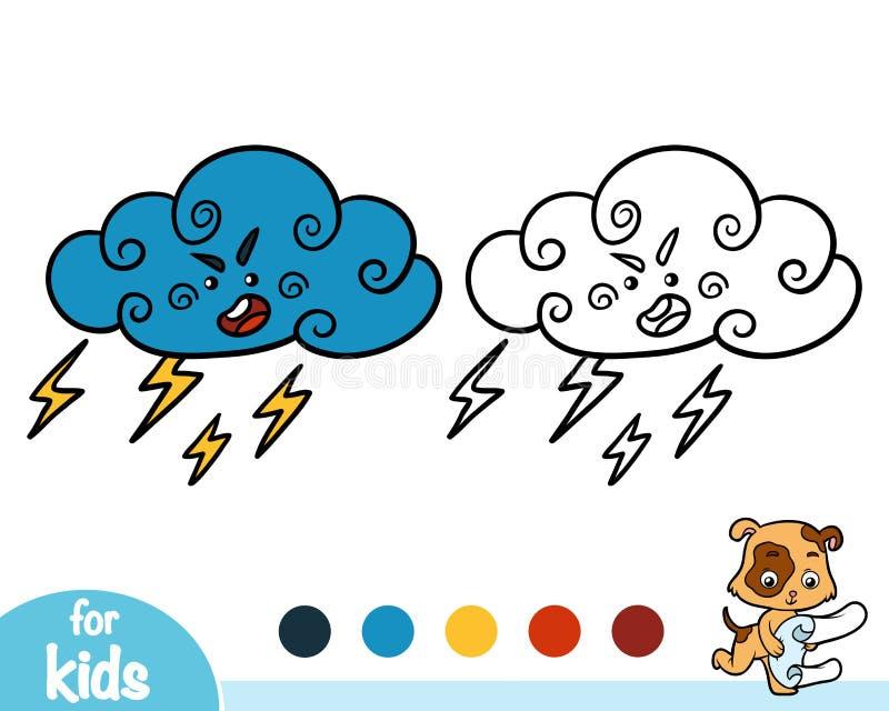 Книжка-раскраска, Thundercloud с молнией и дождевые капли иллюстрация вектора