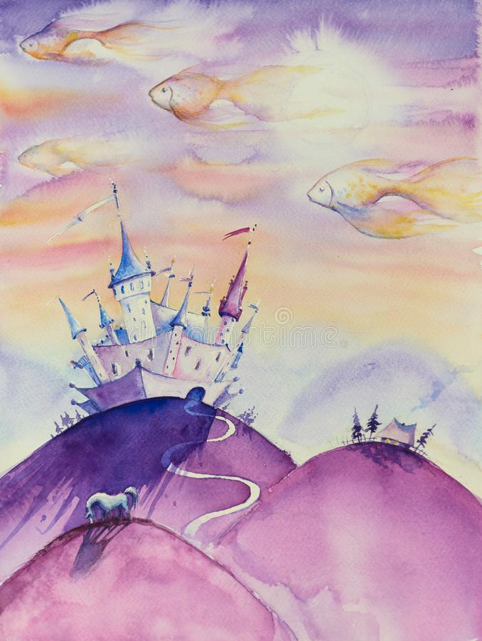 Книжная иллюстрация королевств-детей сказки иллюстрация штока
