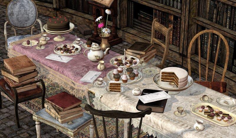 Книжные клубы, чаепитие, 3D CG стоковые фото