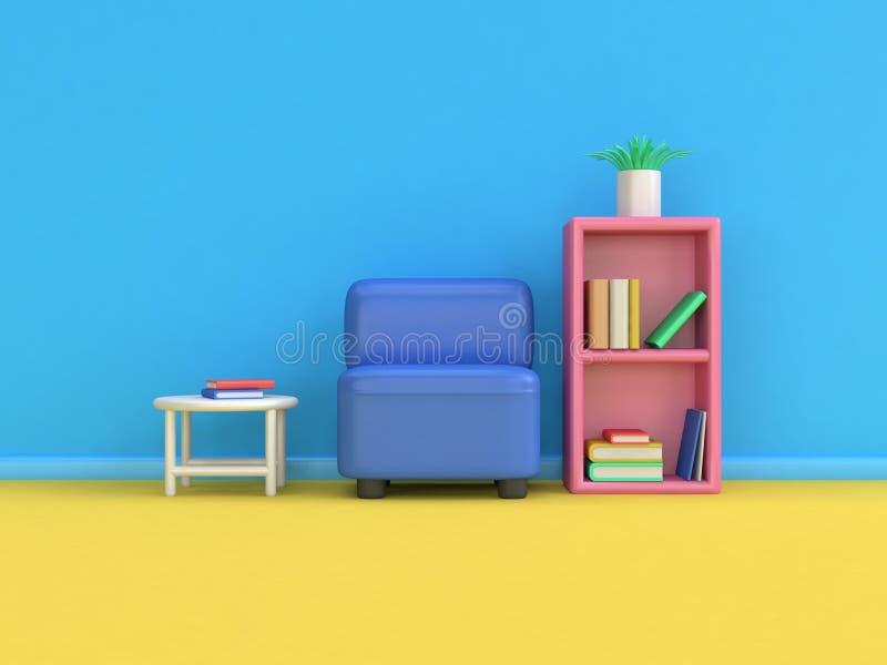 Книжные полки минимальное 3d софы стиля мультфильма представляют сцену пола голубой стены желтую, концепцию образования иллюстрация вектора