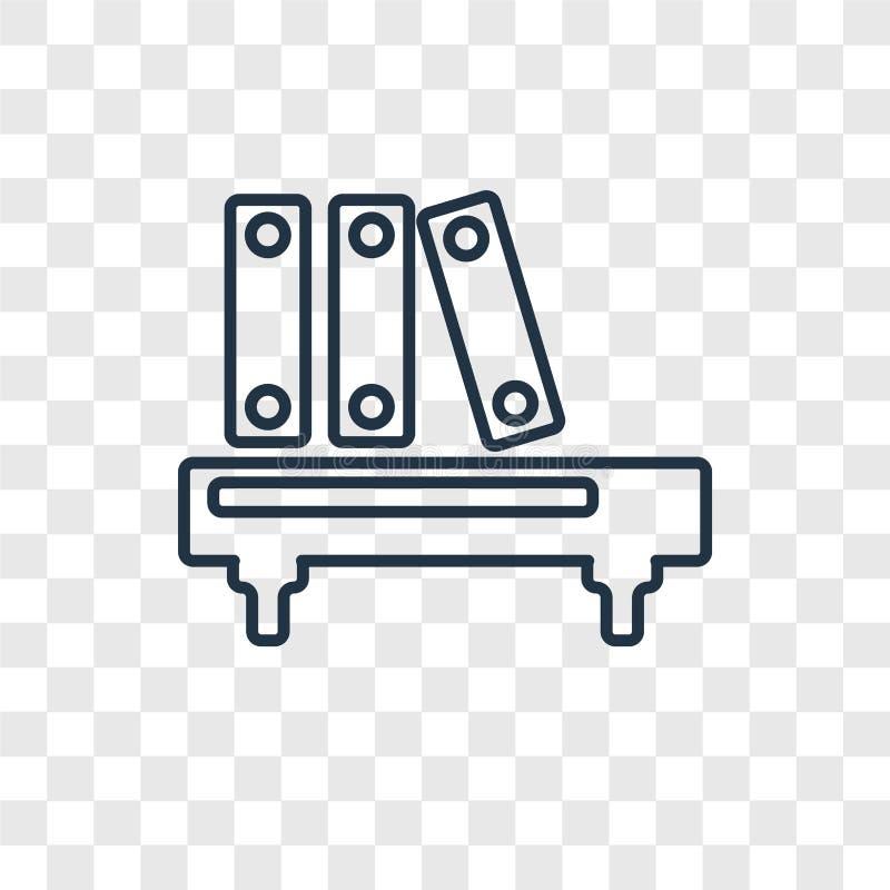 Книжные полки со значком вектора концепции книг линейным изолированным на tran бесплатная иллюстрация