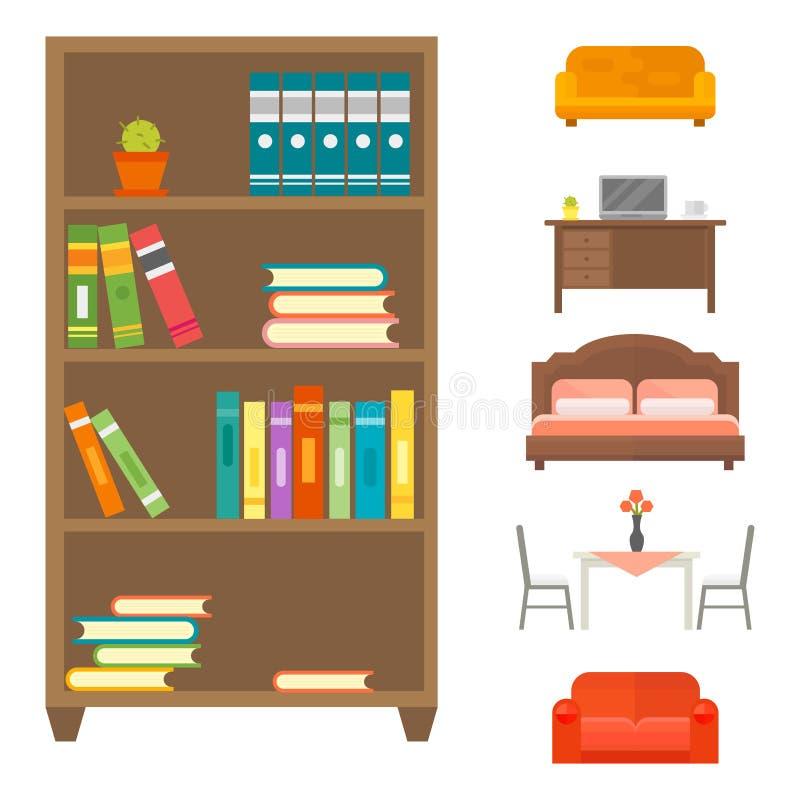 Книжных полок офиса библиотеки комнаты шкафа значка оформления мебели силуэт уборного домашних установленных крытых внутренних со иллюстрация штока