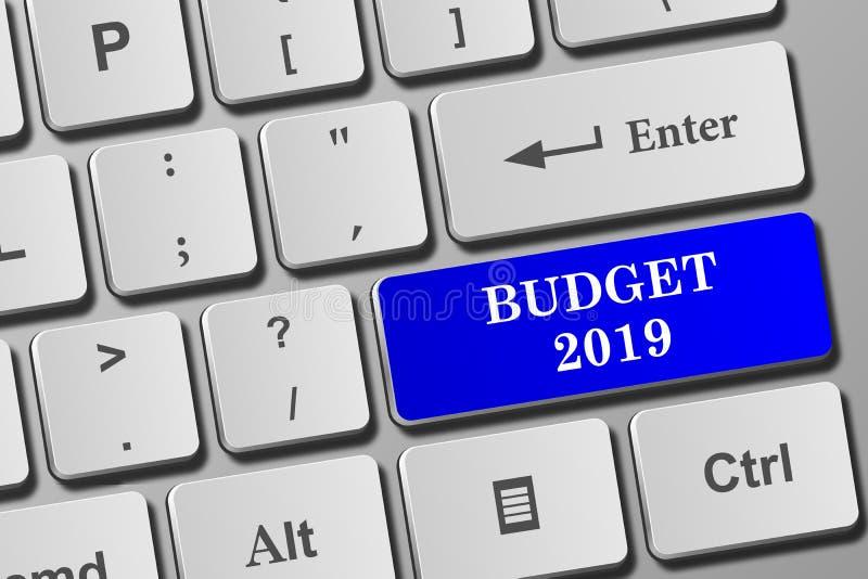 Кнопка бюджета 2019 на клавиатуре иллюстрация вектора