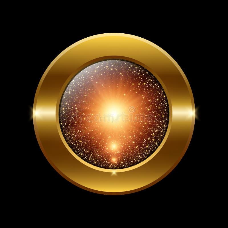 Кнопка вектора круглая золотая обрамленная иллюстрация вектора
