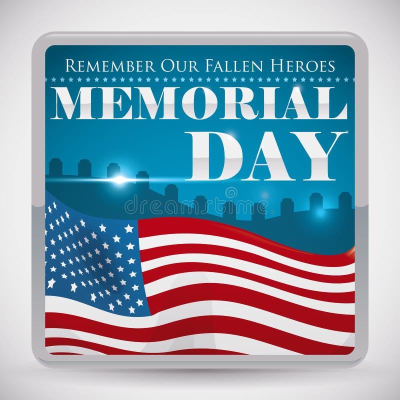 Кнопка взгляда погоста для чествования Дня памяти погибших в войнах, иллюстрации вектора иллюстрация вектора
