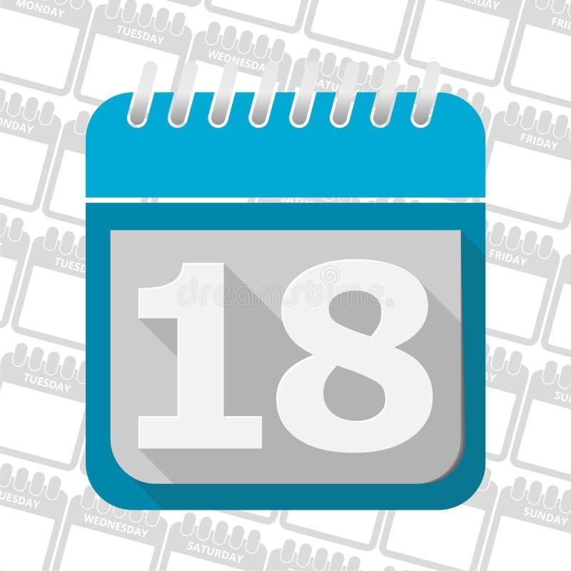 Кнопка даты, значок знака календаря символ месяца 18 дней иллюстрация вектора