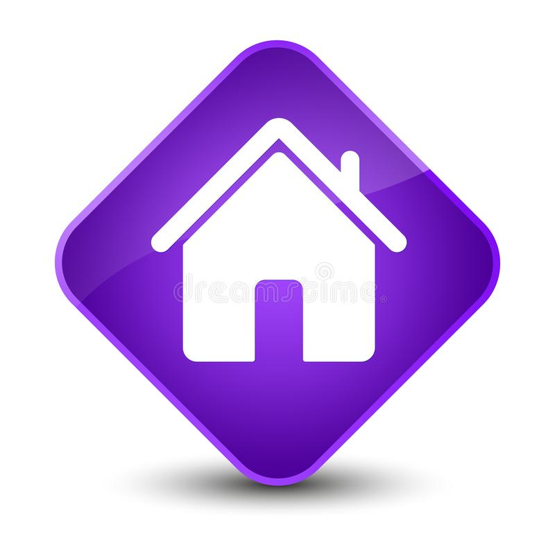 Кнопка диаманта домашнего значка элегантная фиолетовая иллюстрация вектора