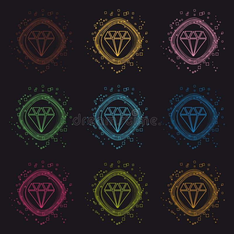 Кнопка диаманта драгоценности - современная красочная иллюстрация круга вектора - изолированная на черной предпосылке бесплатная иллюстрация