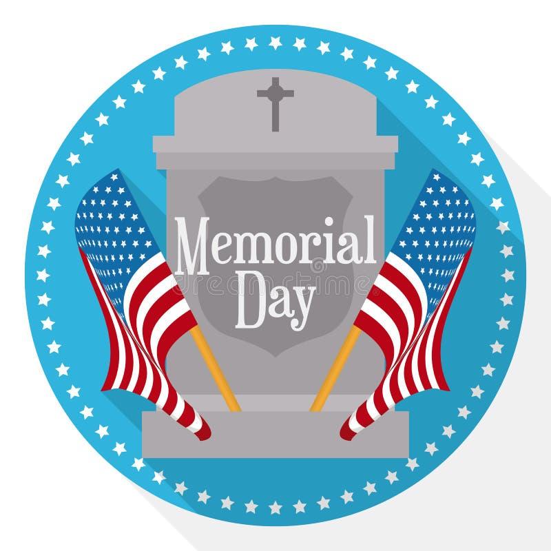 Кнопка Дня памяти погибших в войнах в плоском стиле с надгробной плитой и вымпелами, иллюстрацией вектора бесплатная иллюстрация