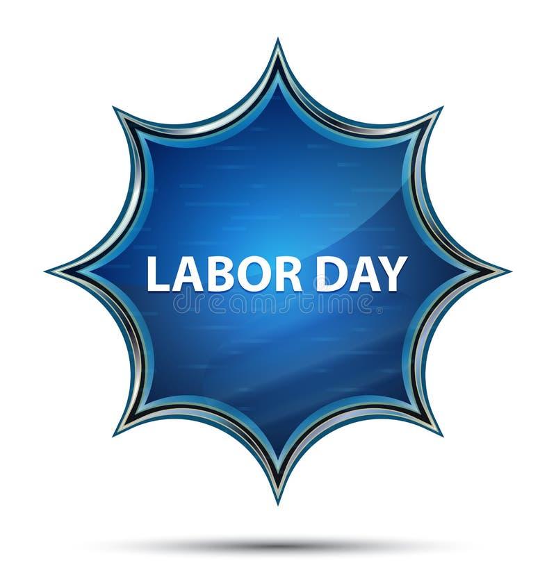 Кнопка Дня Труда волшебная стекловидная sunburst голубая иллюстрация штока