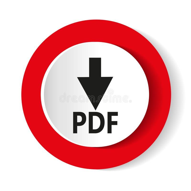 Кнопка загрузки лоснистая красная круглая также вектор иллюстрации притяжки corel бесплатная иллюстрация