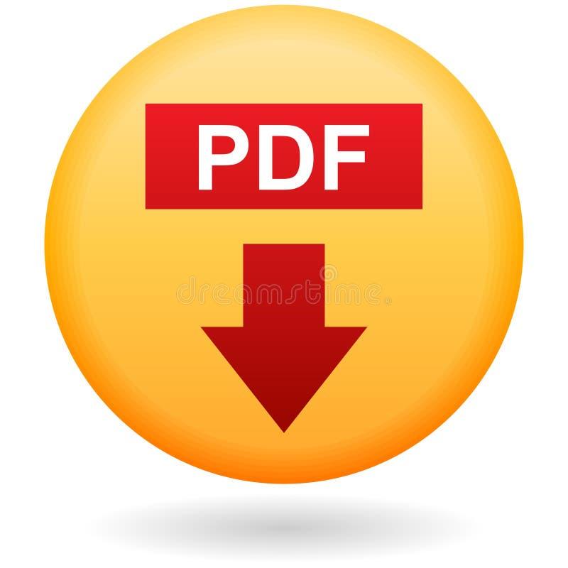 Кнопка загрузки PDF на белизне иллюстрация штока