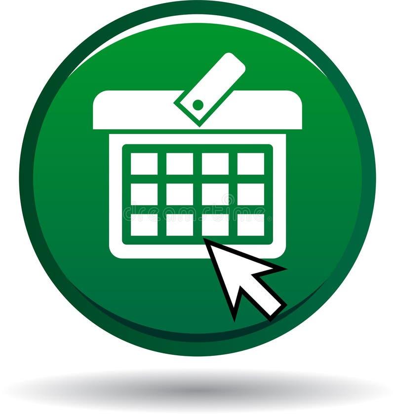 Кнопка зеленого цвета магазинной тележкаи круглая иллюстрация штока