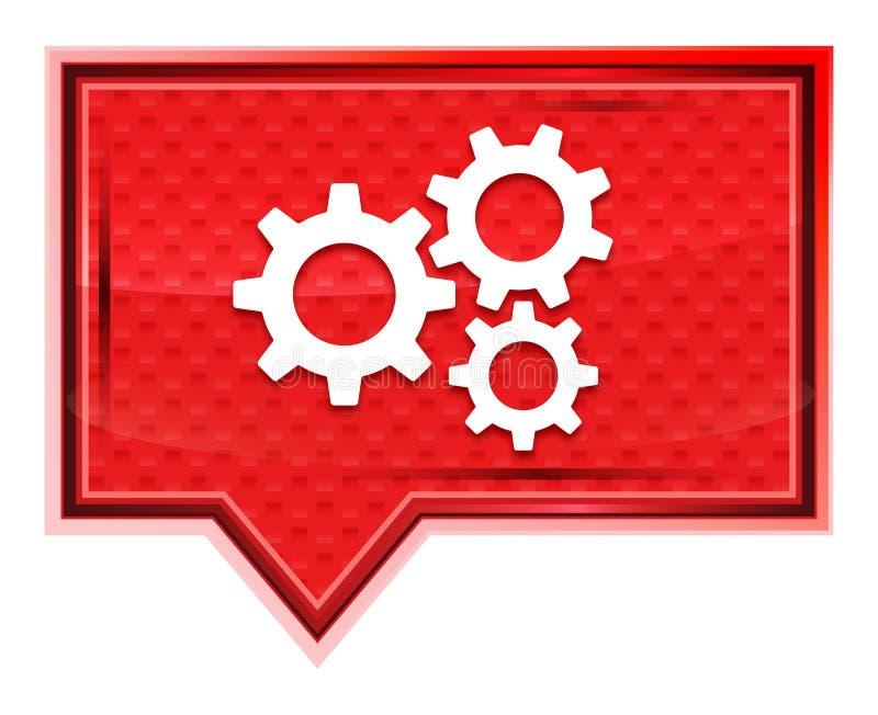 Кнопка знамени значка шестерней установок туманная розовая розовая иллюстрация вектора