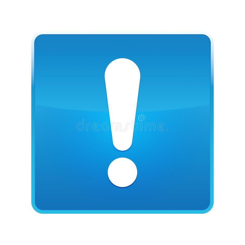 Кнопка значка восклицательного знака сияющая голубая квадратная бесплатная иллюстрация