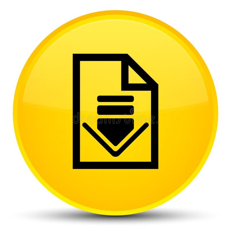 Кнопка значка документа загрузки специальная желтая круглая иллюстрация штока