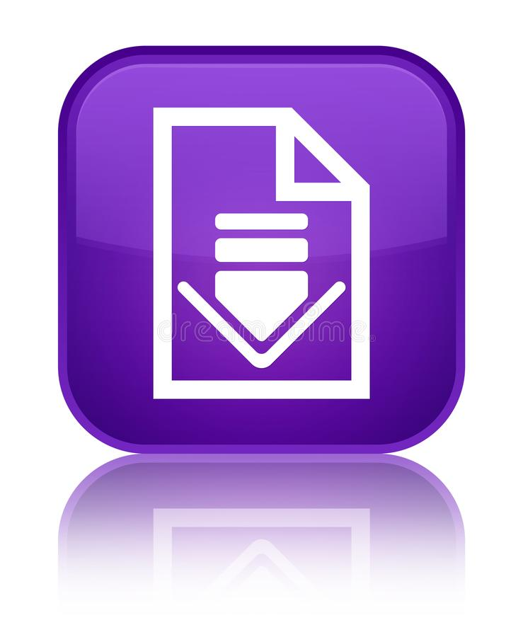 Кнопка значка документа загрузки специальная фиолетовая квадратная бесплатная иллюстрация