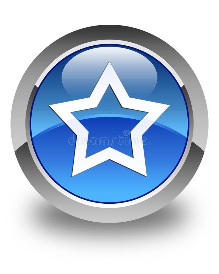 Кнопка значка звезды лоснистая голубая круглая бесплатная иллюстрация