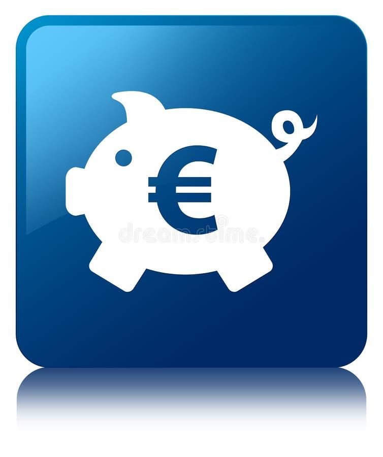 Кнопка значка знака евро копилки голубая квадратная иллюстрация штока