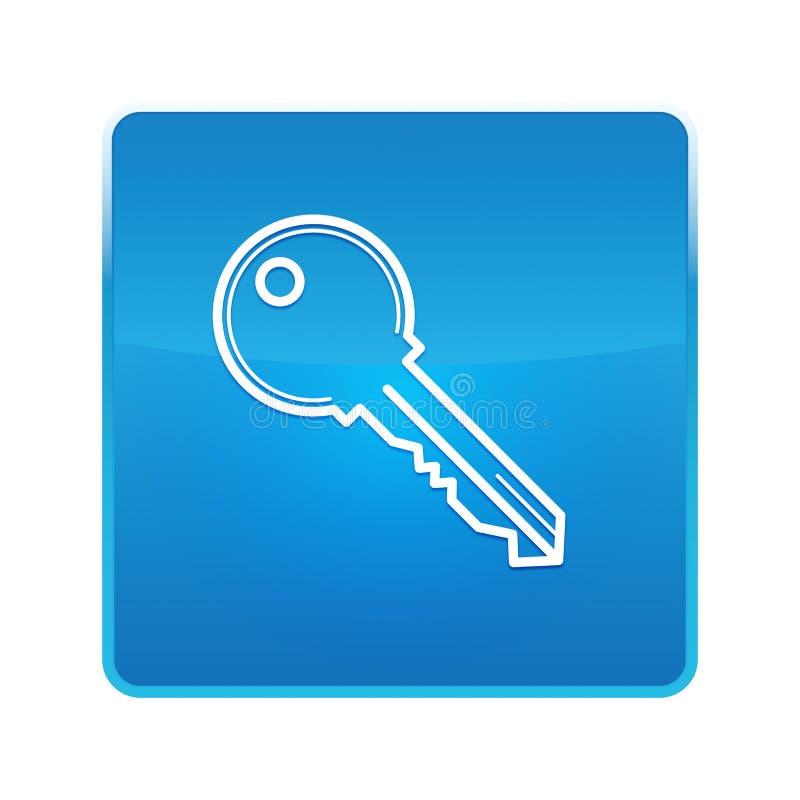 Кнопка значка ключа сияющая голубая квадратная иллюстрация штока