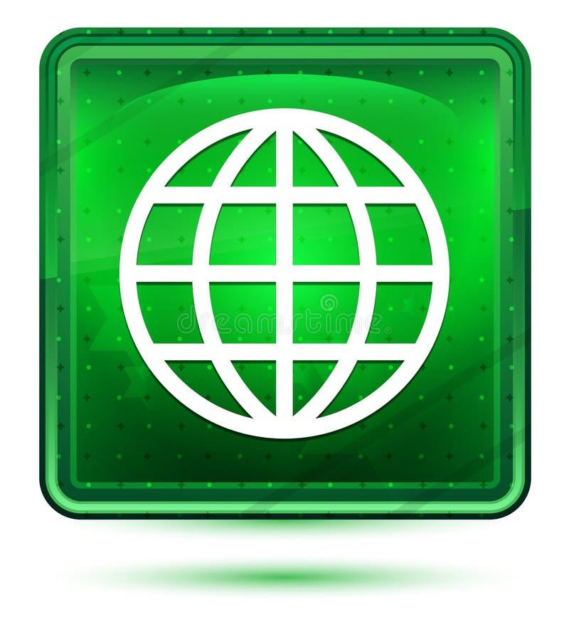 Кнопка значка мира неоновая салатовая квадратная иллюстрация штока