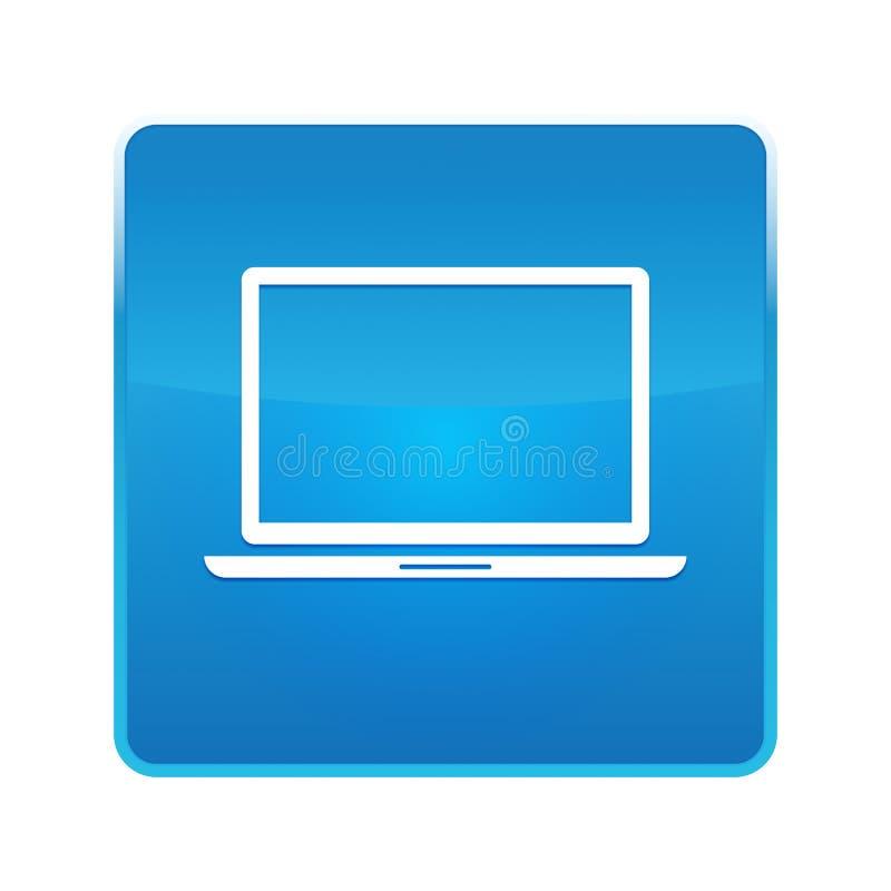 Кнопка значка ноутбука сияющая голубая квадратная иллюстрация штока