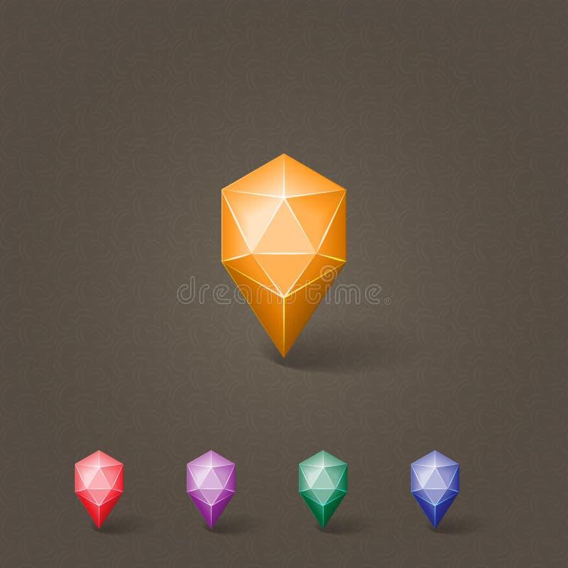 Кнопка значка отметки положения пустая кристаллическая стоковое изображение