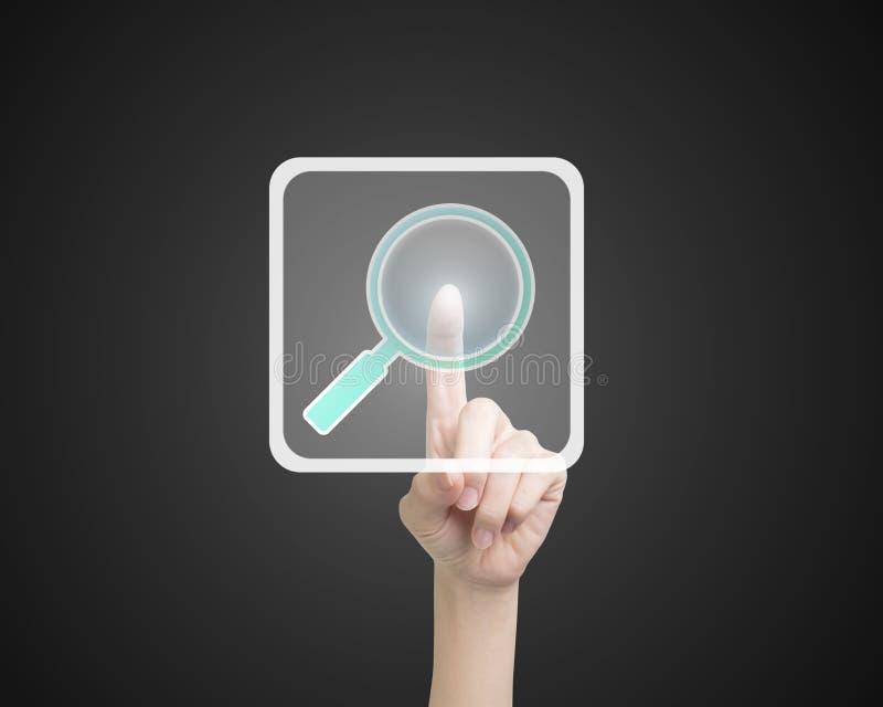 Кнопка значка поиска женского указательного пальца касающая стоковые изображения rf