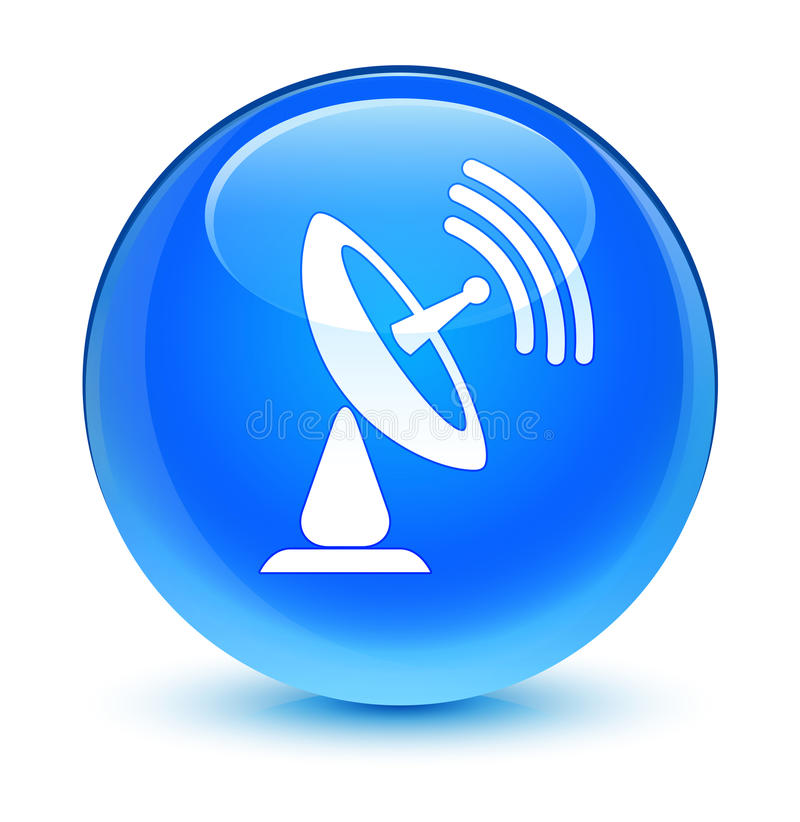 Кнопка значка спутниковой антенна-тарелки стекловидная cyan голубая круглая иллюстрация вектора