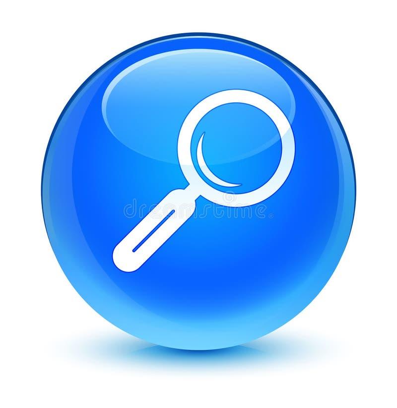Кнопка значка лупы стекловидная cyan голубая круглая бесплатная иллюстрация