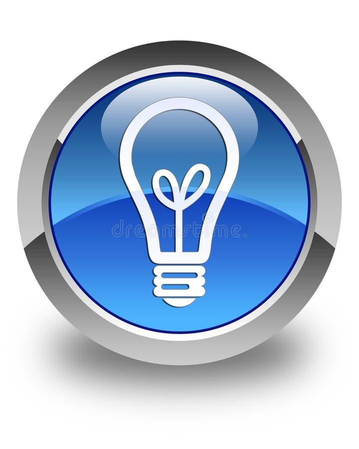 Кнопка значка шарика лоснистая голубая круглая иллюстрация вектора