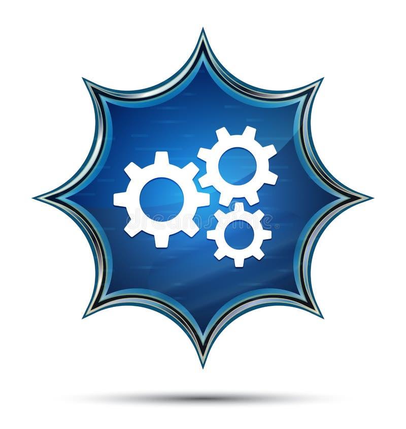 Кнопка значка шестерней установок волшебная стекловидная sunburst голубая иллюстрация вектора