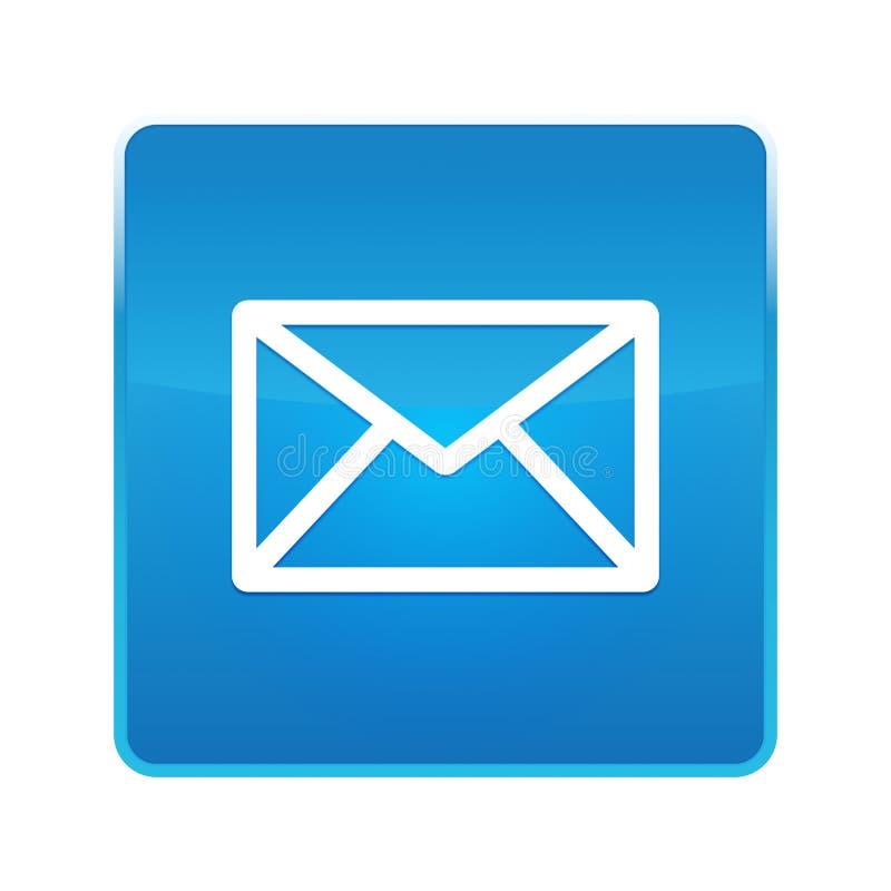 Кнопка значка электронной почты сияющая голубая квадратная иллюстрация вектора