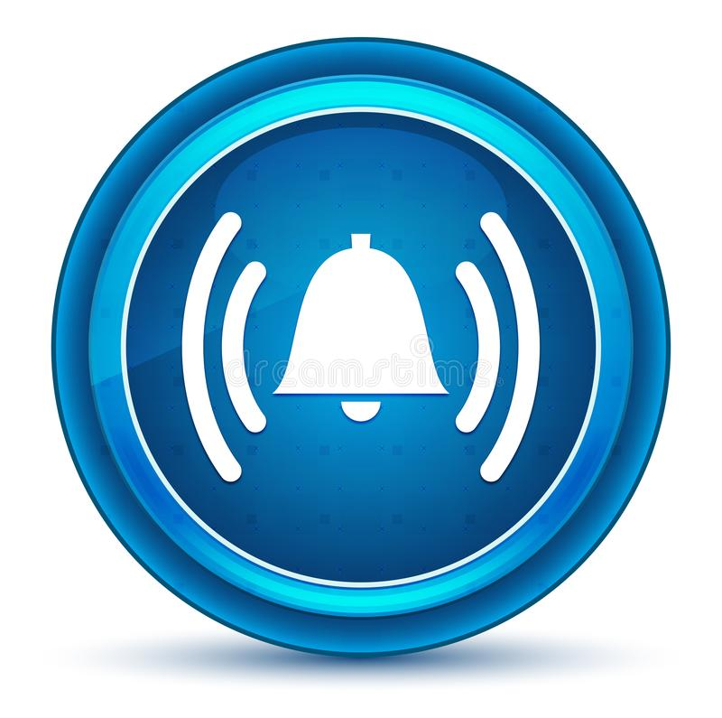 Кнопка зрачка значка колокола сигнала тревоги звеня голубая круглая иллюстрация штока