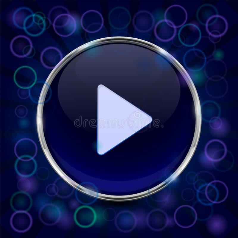 Кнопка игры икона сини 3d иллюстрация штока